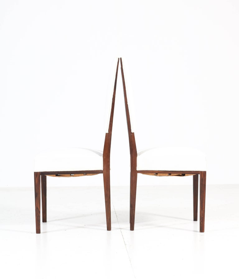Eight Ebony Macassar Art Deco Dining Room Chairs by 't Woonhuys Amsterdam, 1920s In Good Condition For Sale In Amsterdam, NL