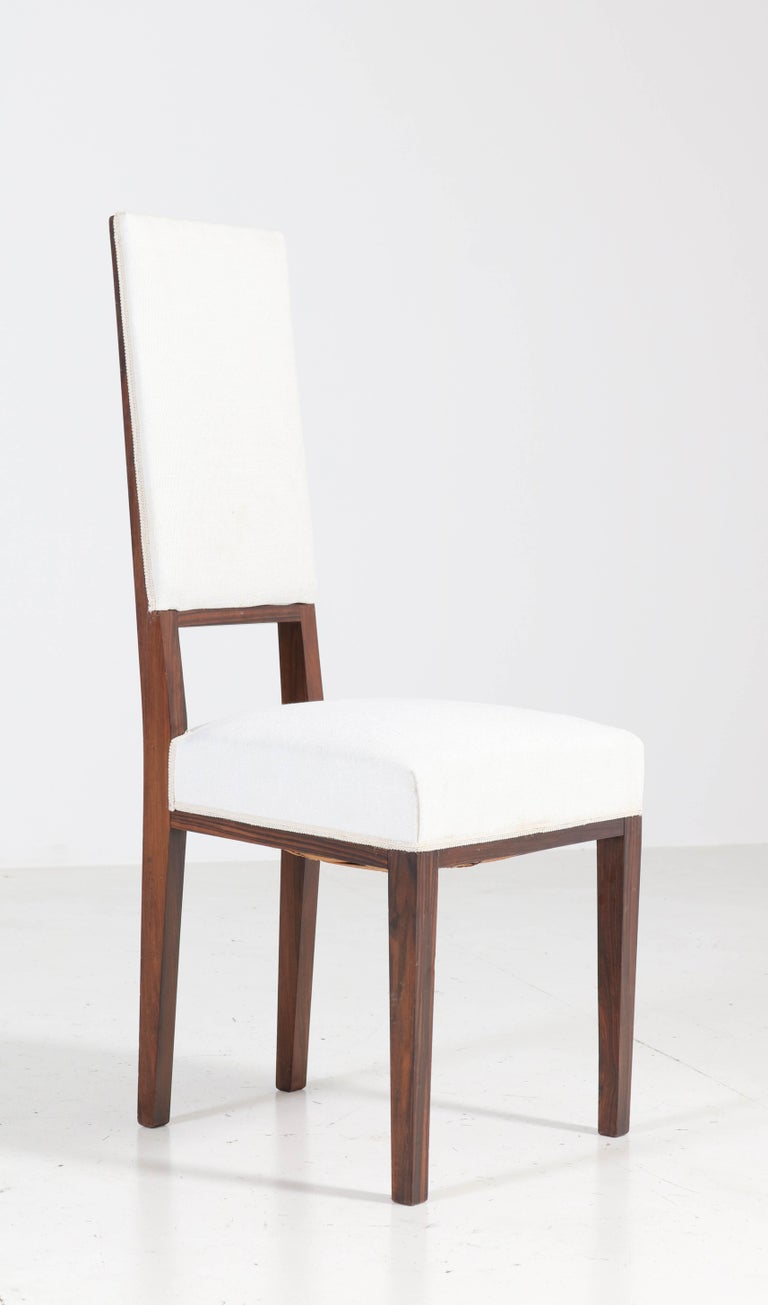 Fabric Eight Ebony Macassar Art Deco Dining Room Chairs by 't Woonhuys Amsterdam, 1920s For Sale