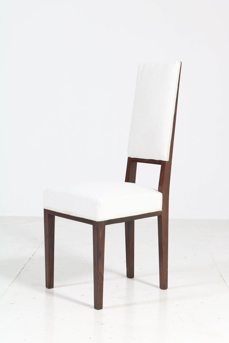 Eight Ebony Macassar Art Deco Dining Room Chairs by 't Woonhuys Amsterdam, 1920s For Sale 2