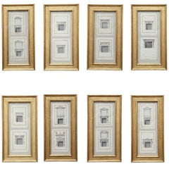 Eight English, George III Pen and Ink Drawings of Chimney Pieces