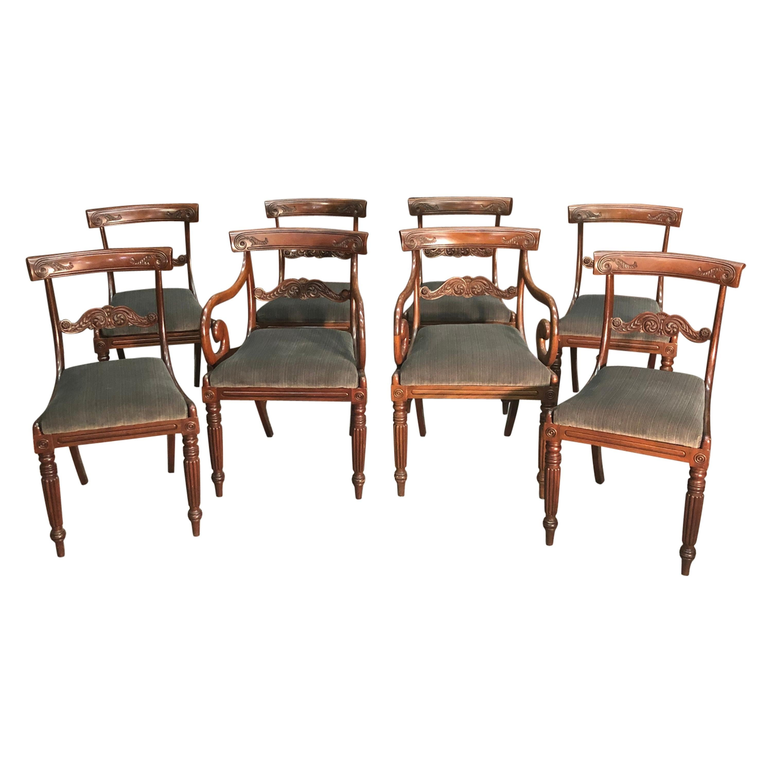 Eight English Regency Period Mahogany Dining Chairs, Early 19th Century