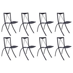Eight Folding Dining Chairs Cattelan Italia Black Leather Vintage, 20th Century