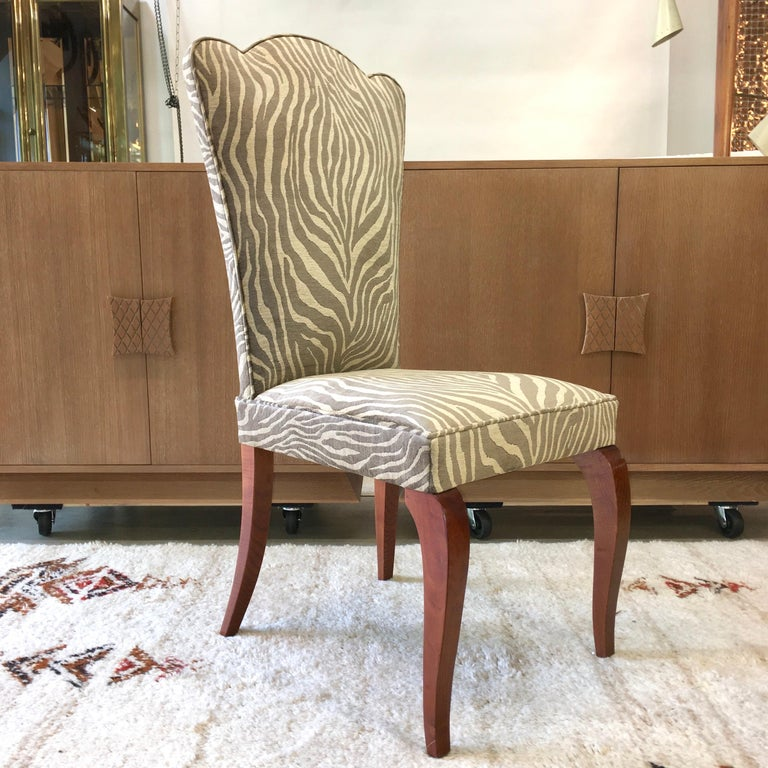 Upholstery Eight French 1940s Dining Chairs For Sale