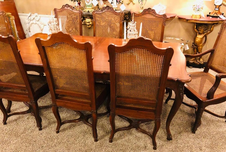 Wood Eight French Country Chairs, Louis XV For Sale