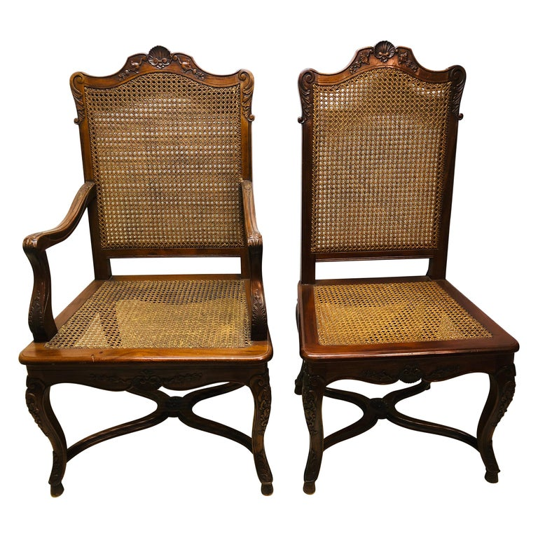 Eight French Country Chairs, Louis XV For Sale
