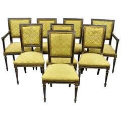 Acht französischen Louis XVI Regency Stil, Esszimmerstühle mit gepolsterter Lehne