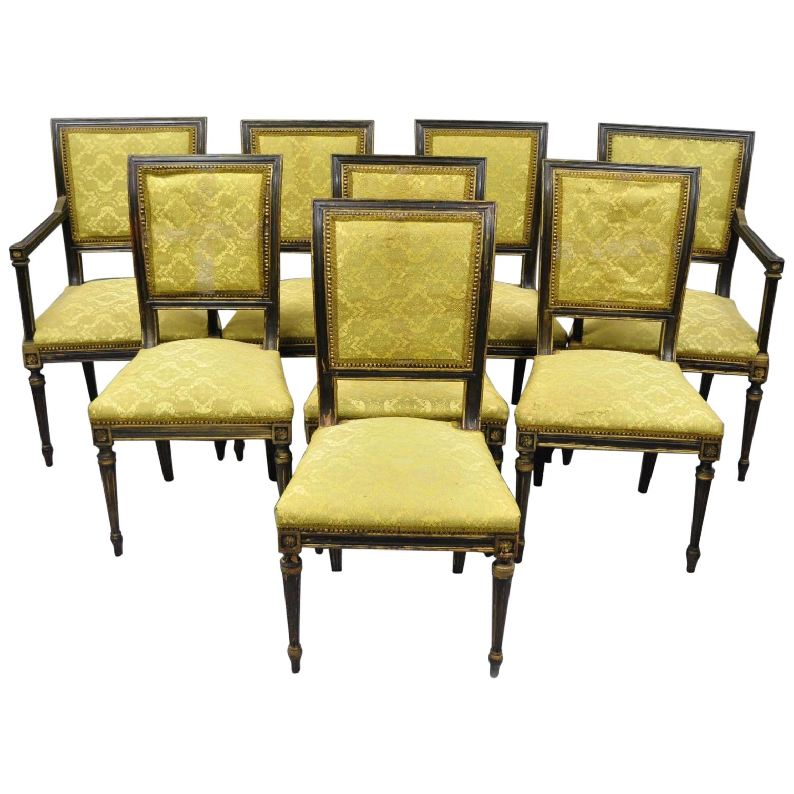 Eight French Regency Style Upholstered Square Back Dining Chairs