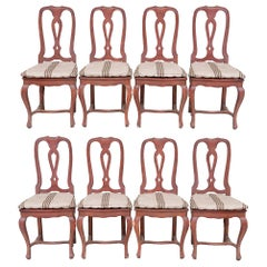 Eight French Provincial Style Dining Chairs