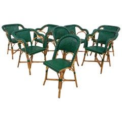 Vintage Eight French Rattan Bistro Chairs