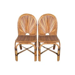 "Eight Gabriella Crespi ""Rising Sun"" Bamboo Dining Chairs"