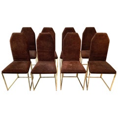 Eight Golden Lacquered Steel and Suede Chairs by Belgo Chrome