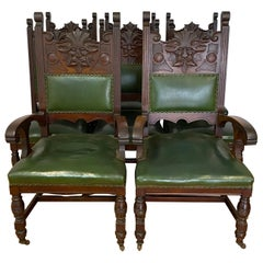 Eight Gothic Style Carved Mahogany Dining Chairs 19th C