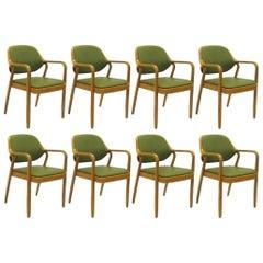 Eight Green Don Petitt Bentwood Armchairs for Knoll