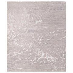 Eight Grey - Plain Living Room Hand Knotted Wool Tencel Allo Rug
