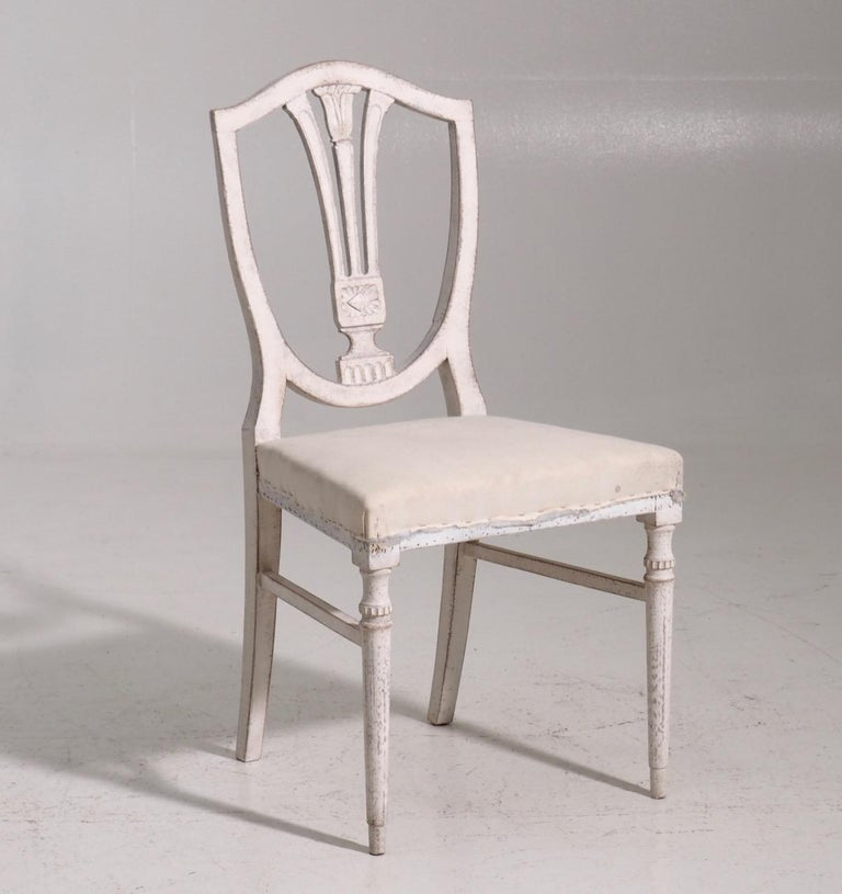 Set of eight Gustavian style chairs, late 19th century.