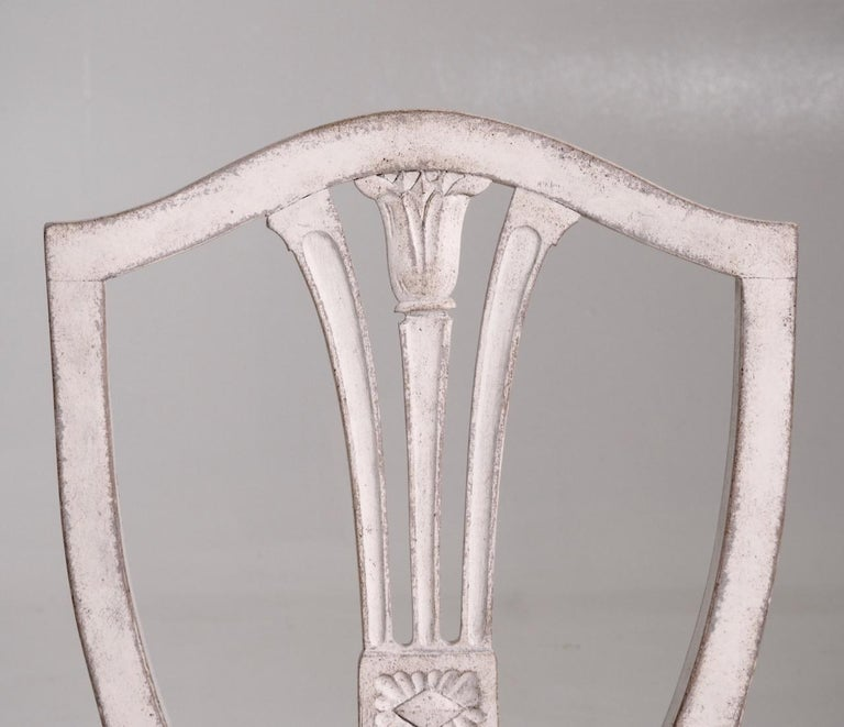 Wood Eight Gustavian Style Chairs, Late 19th Century For Sale