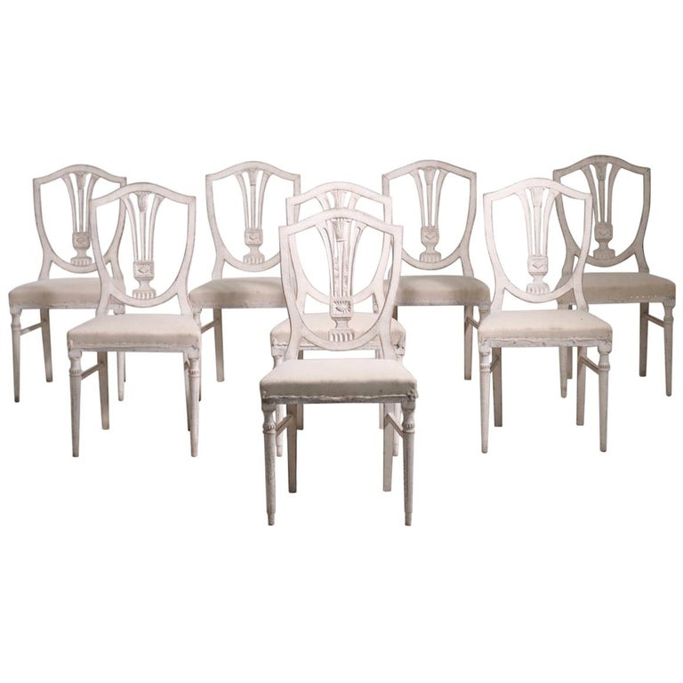 Eight Gustavian Style Chairs, Late 19th Century For Sale