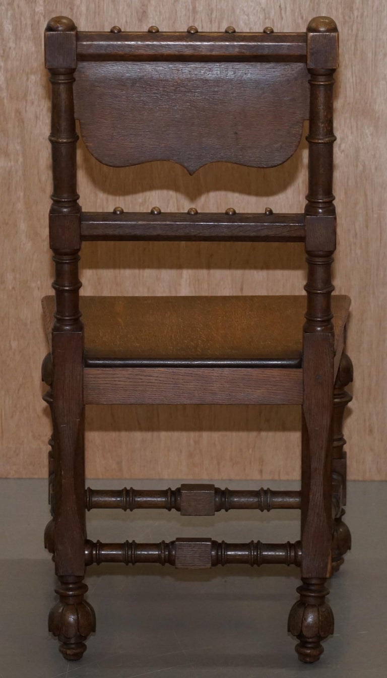 Eight Hand Carved Walnut Gothic Revival Dining Chairs circa 1840 Stunning Frames For Sale 7