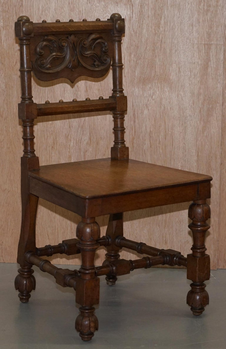 Eight Hand Carved Walnut Gothic Revival Dining Chairs circa 1840 Stunning Frames For Sale 9
