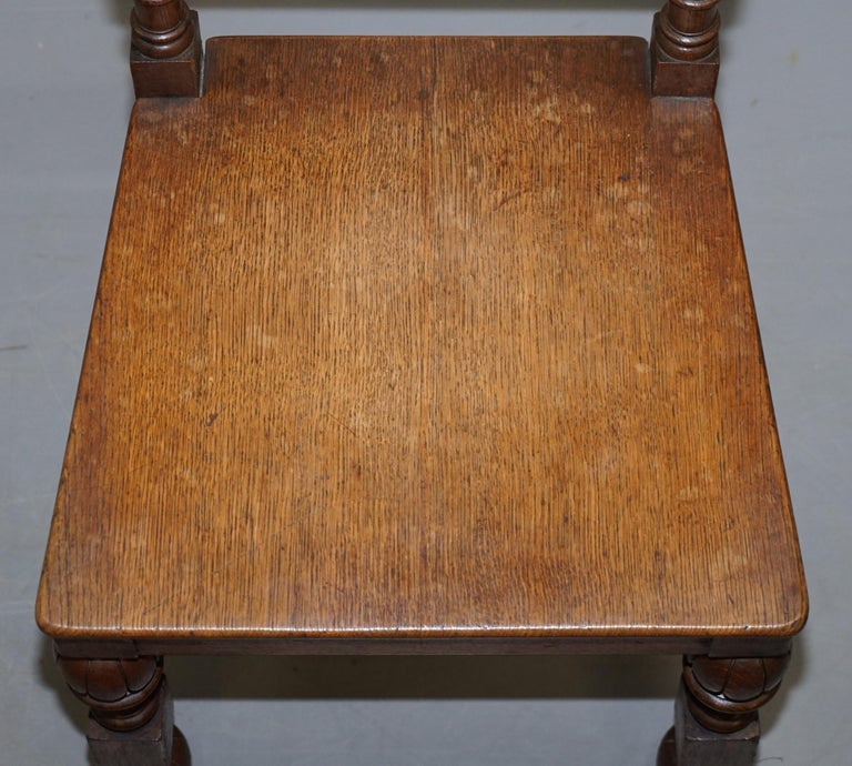 Eight Hand Carved Walnut Gothic Revival Dining Chairs circa 1840 Stunning Frames For Sale 10