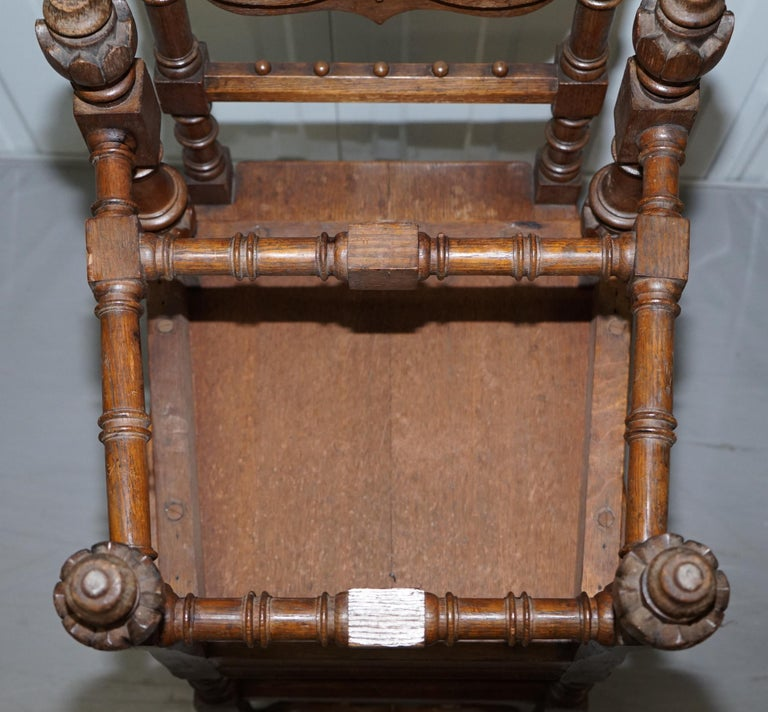 Eight Hand Carved Walnut Gothic Revival Dining Chairs circa 1840 Stunning Frames For Sale 11