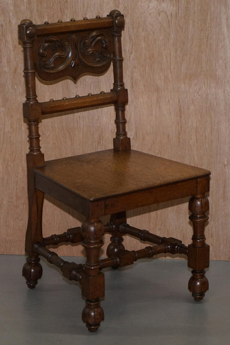 Eight Hand Carved Walnut Gothic Revival Dining Chairs circa 1840 Stunning Frames For Sale 12