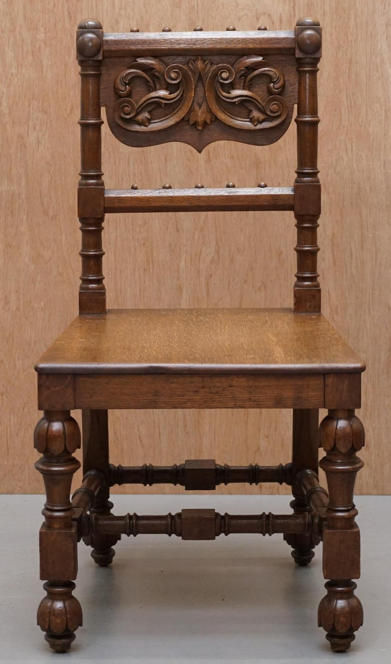 Hand-Crafted Eight Hand Carved Walnut Gothic Revival Dining Chairs circa 1840 Stunning Frames For Sale