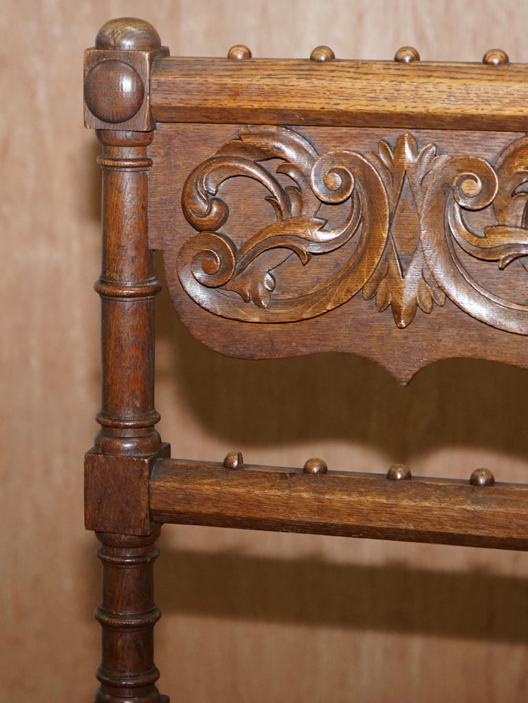 Mid-19th Century Eight Hand Carved Walnut Gothic Revival Dining Chairs circa 1840 Stunning Frames For Sale