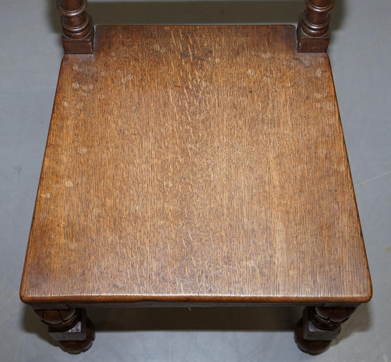 Eight Hand Carved Walnut Gothic Revival Dining Chairs circa 1840 Stunning Frames For Sale 1