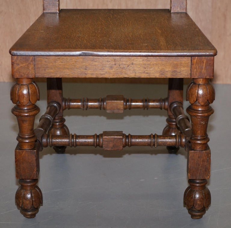 Eight Hand Carved Walnut Gothic Revival Dining Chairs circa 1840 Stunning Frames For Sale 2
