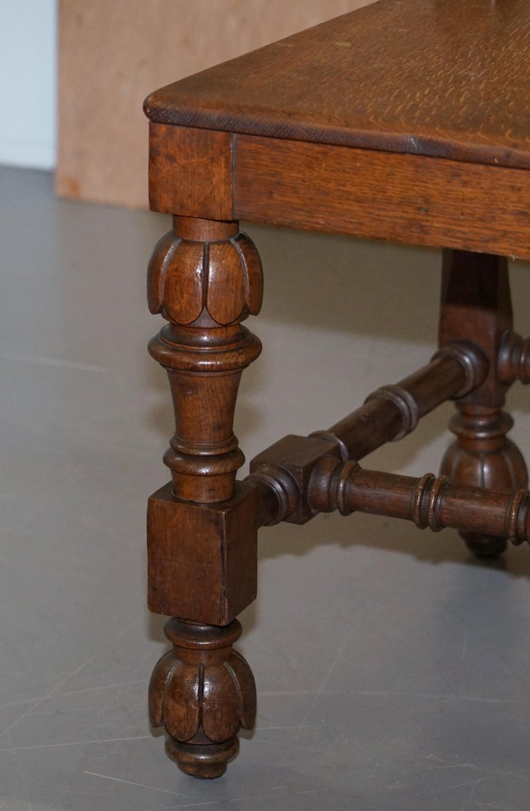 Eight Hand Carved Walnut Gothic Revival Dining Chairs circa 1840 Stunning Frames For Sale 3