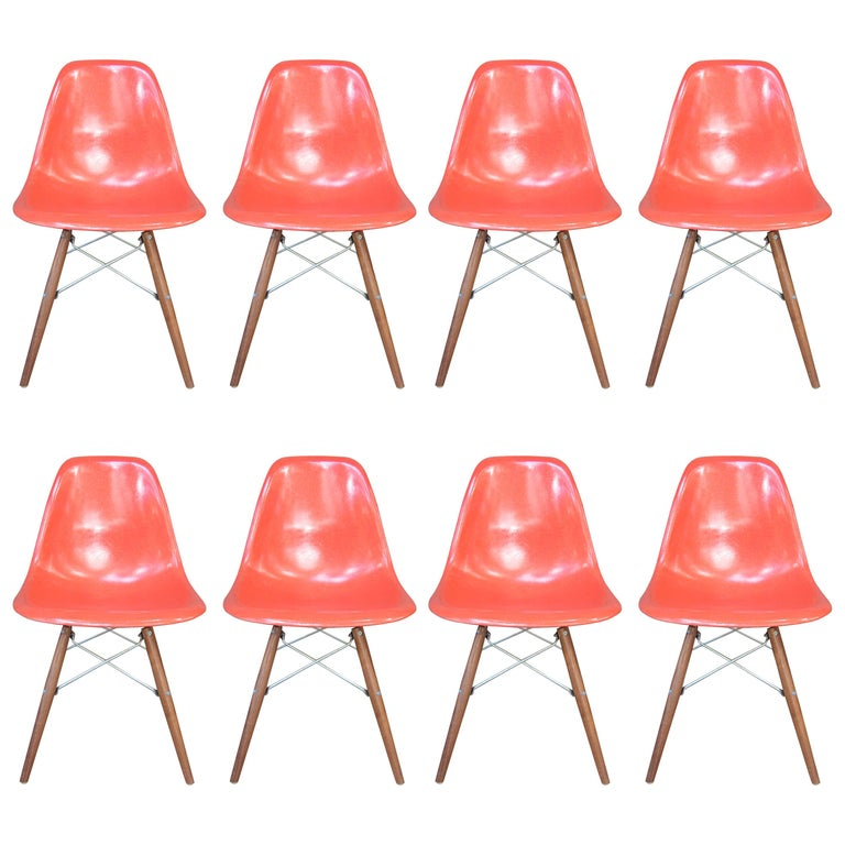 Eight Herman Miller Eames Dining Chairs For Sale