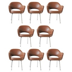 Eight Iconic Eero Saarinen for Knoll Brown Executive Chairs