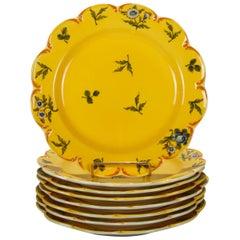 "Eight Italian Floral Porcelain Dinner Plates ""Este"" for Tiffany, 20th Century"