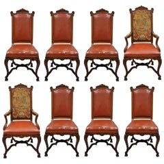 Eight Italian Renaissance Rococo Carved Walnut Needlepoint Leather Dining Chairs