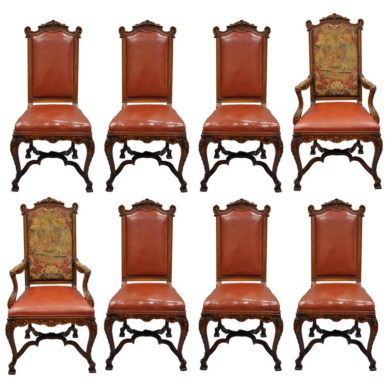Eight Italian Renaissance Rococo Carved Walnut Needlepoint Leather Dining Chairs For Sale