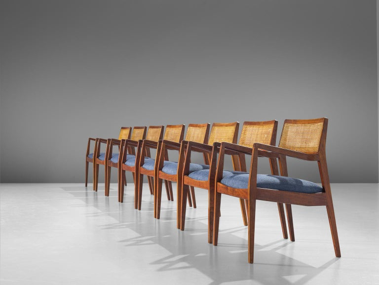 Jens Risom, 'Playboy' armchairs, cane, fabric, walnut, United States, design 1958, production 1960s.   These Classic
