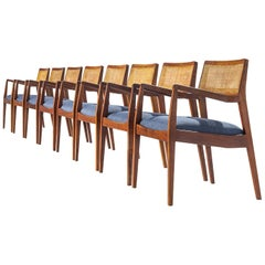 "Eight Jens Risom Walnut ""Playboy"" Armchairs"