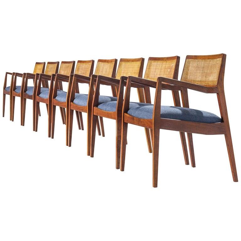 """Eight Jens Risom Walnut """"Playboy"""" Armchairs For Sale"""