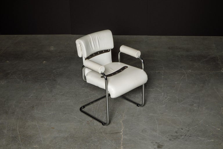 Eight Leather Armchairs by Guido Faleschini for i4 Mariani, 1980s Italy, Signed For Sale 4