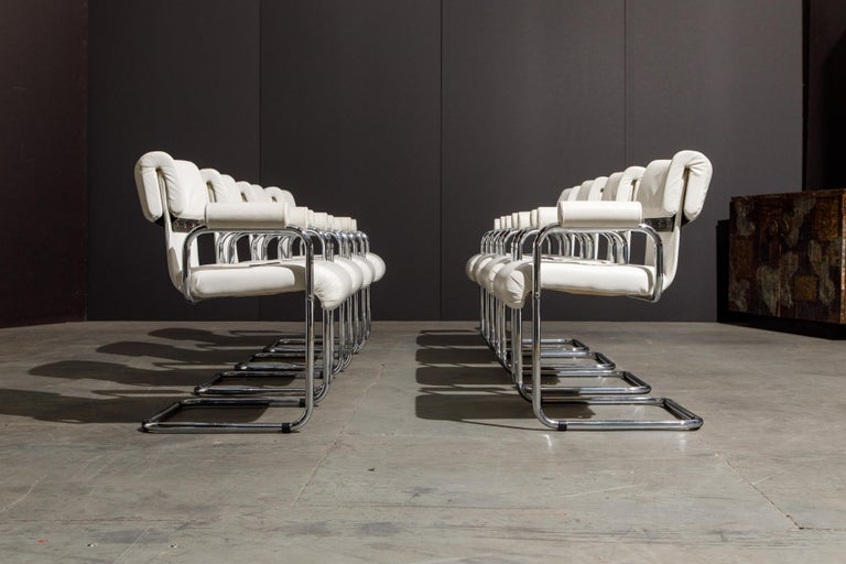 Post-Modern Eight Leather Armchairs by Guido Faleschini for i4 Mariani, 1980s Italy, Signed For Sale