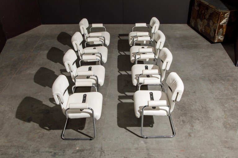 Italian Eight Leather Armchairs by Guido Faleschini for i4 Mariani, 1980s Italy, Signed For Sale