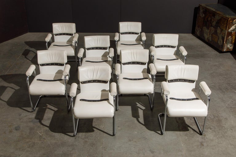 Eight Leather Armchairs by Guido Faleschini for i4 Mariani, 1980s Italy, Signed In Good Condition For Sale In Los Angeles, CA