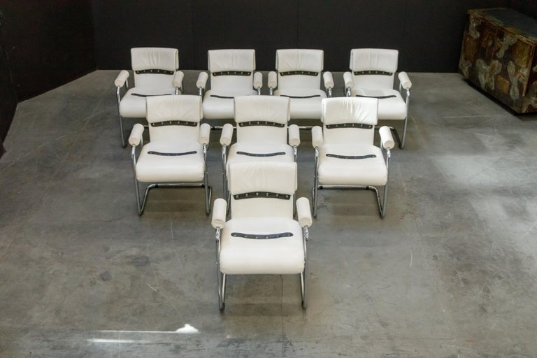 Eight Leather Armchairs by Guido Faleschini for i4 Mariani, 1980s Italy, Signed For Sale 1