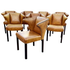 Eight Leather Dining Chairs Attributed to Frits Henningsen