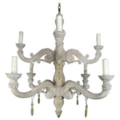 Eight-Light Carved Wood Chandelier with Tassels, 20th Century