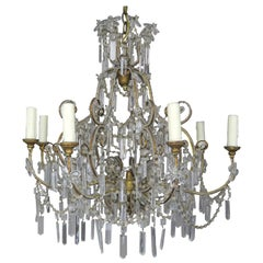 Eight Light Chrystal Beaded Chandelier with Flowers, circa 1930s