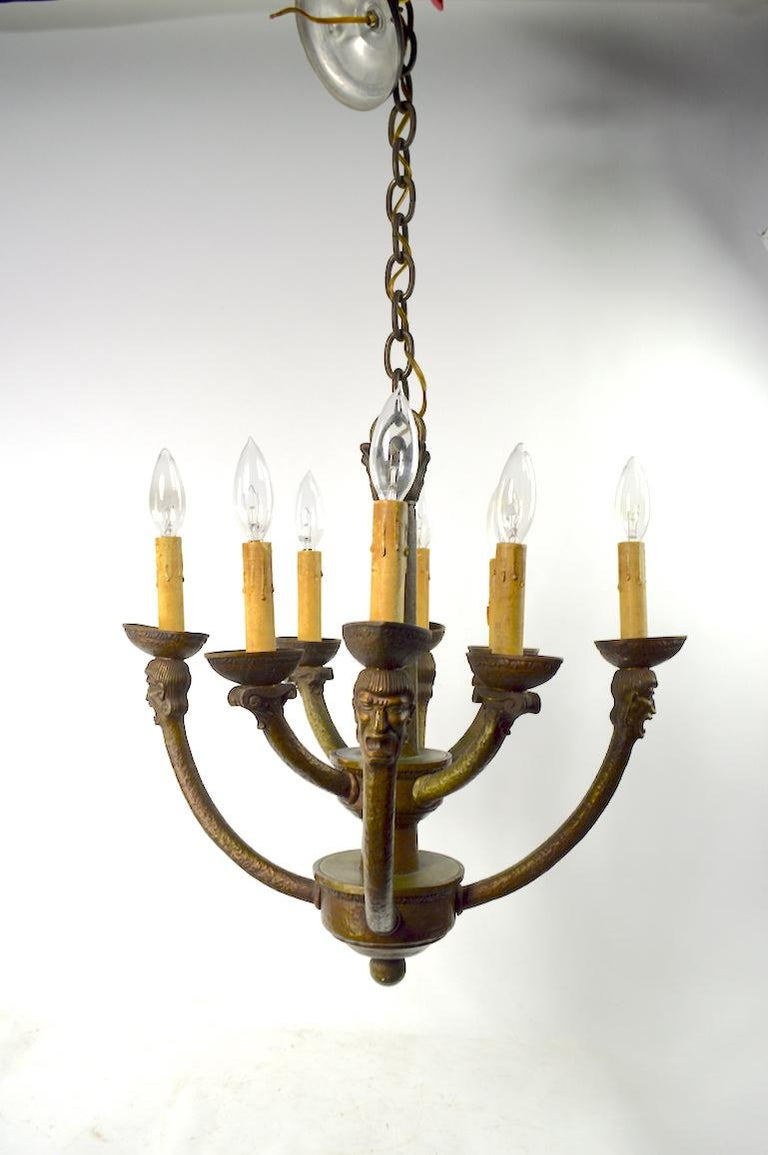 20th Century Eight-Light Greco Roman Revival Arts & Crafts Chandelier For Sale