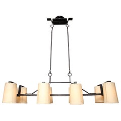 Eight Light Horizontal Forged Iron Chandelier, Three in Stock