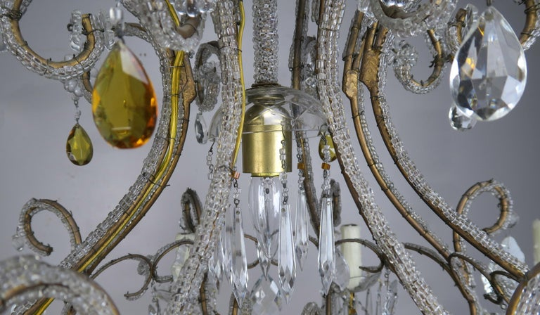 Eight Light Italian Crystal Beaded Chandelier with Smokey Drops For Sale 4